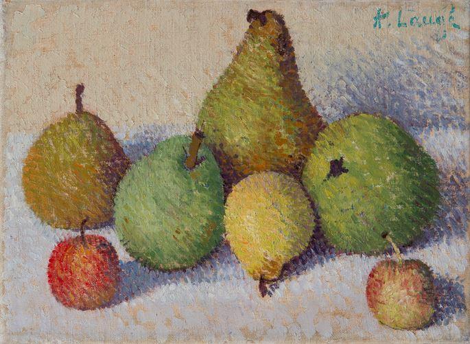 Achille Laugé - Nature morte aux cinq poires et deux pommes | MasterArt