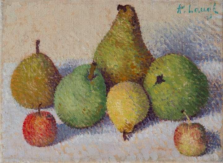 Nature morte aux cinq poires et deux pommes