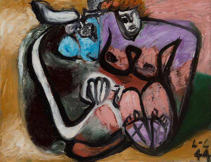 Taureau et femme enlacés