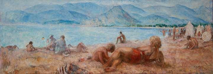 Baigneurs sur la plage de Cagnes-sur-Mer