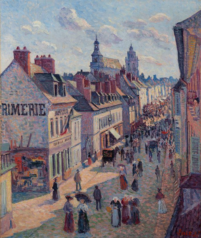 Maximilien Luce - Jour de marché à Gisors (rue Cappeville)   MasterArt