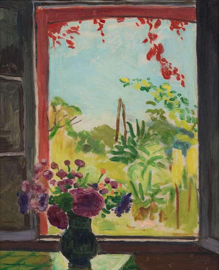 Bouquet sur une table devant la fenêtre à Méricourt