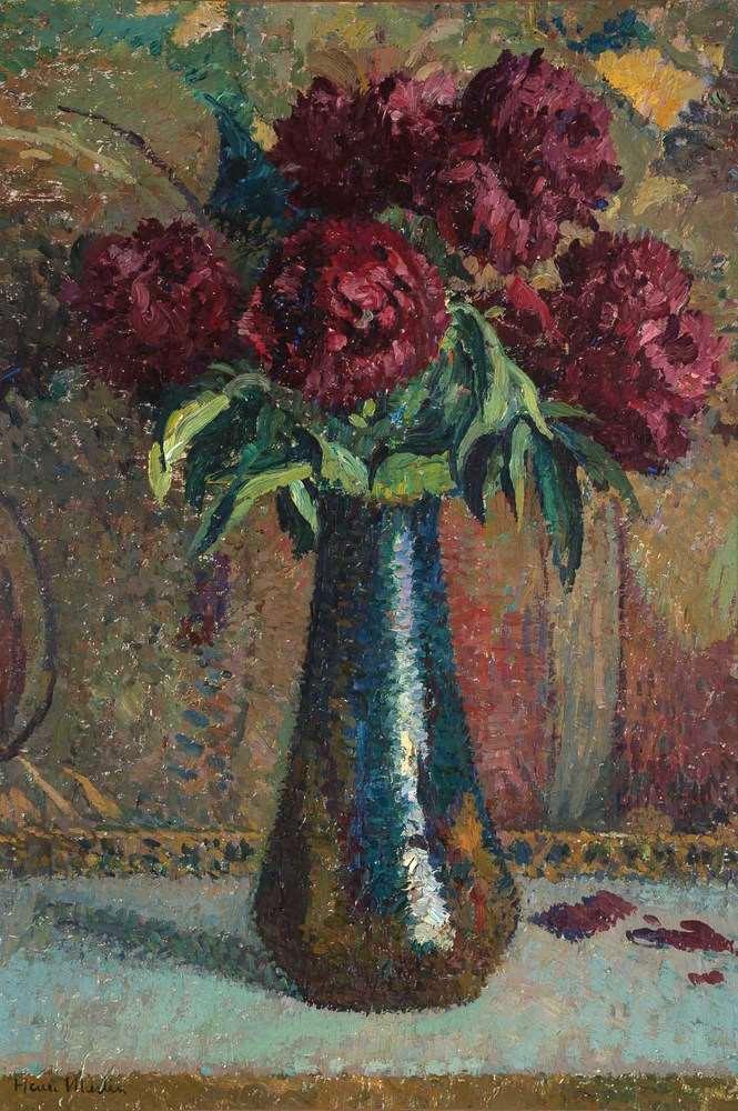 Pivoines rouges dans un vase Dalpayrat