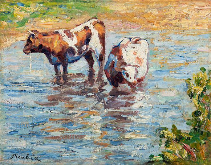 Francis Picabia  - Deux vaches s'abreuvant | MasterArt