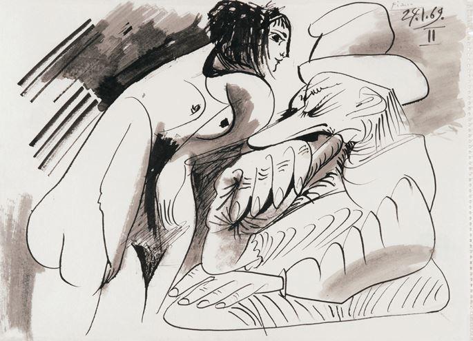 Pablo Picasso - Nu debout et homme assis   MasterArt