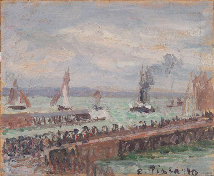 Camille Pissarro - Entrée du port du Havre et le brise-lame ouest, soleil, mer agitée | MasterArt