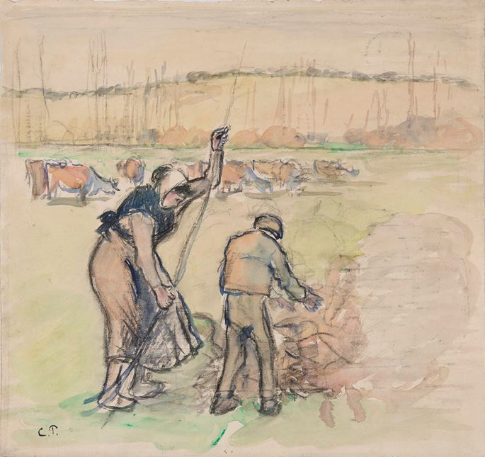 Camille Pissarro - Paysanne et enfant faisant du feu | MasterArt