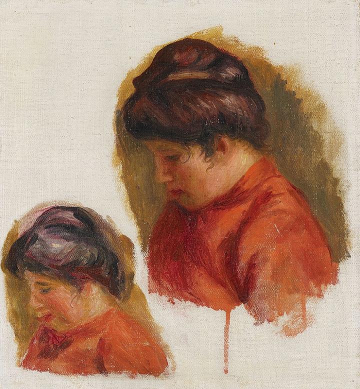 Double étude pour le tableau : Gabrielle en rouge