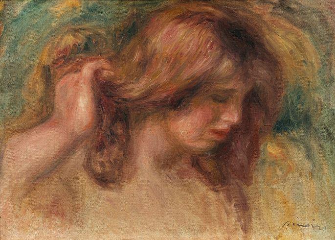 Pierre-Auguste Renoir - Modèle à la main dans les cheveux | MasterArt