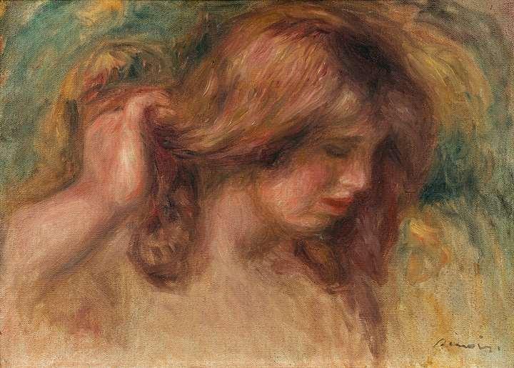 Modèle à la main dans les cheveux