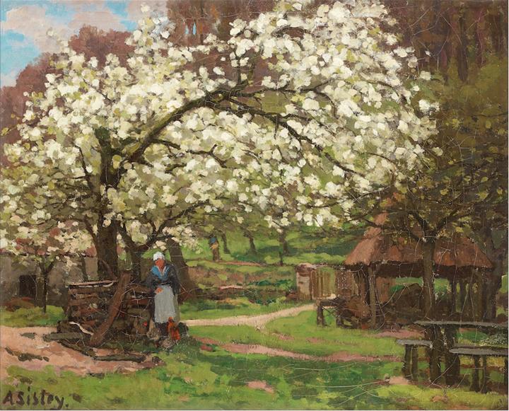 Printemps, paysanne sous les arbres en fleurs