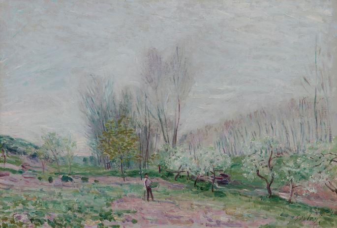 Alfred Sisley - Les Pommiers en fleurs à Moret-sur-Loing   MasterArt