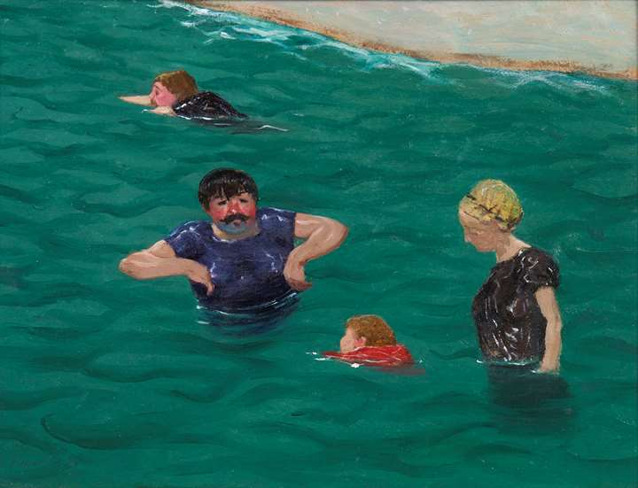 Quatre baigneurs à Étretat