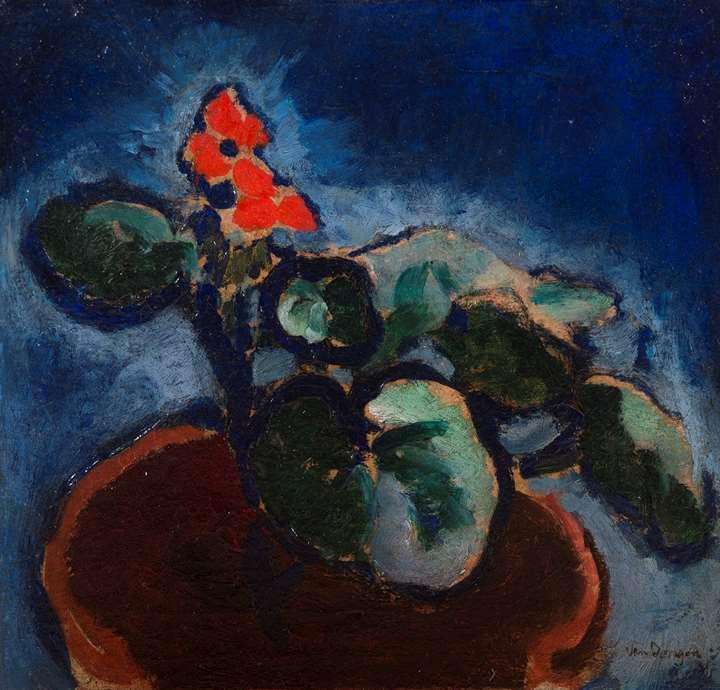 Composition à la fleur rouge