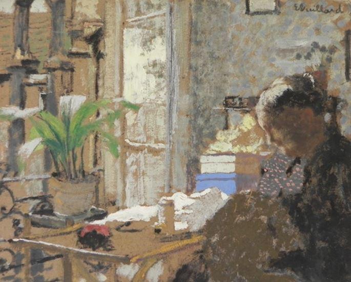 Edouard VUILLARD - Madame Vuillard cousant/ Au verso étude de femme assise | MasterArt