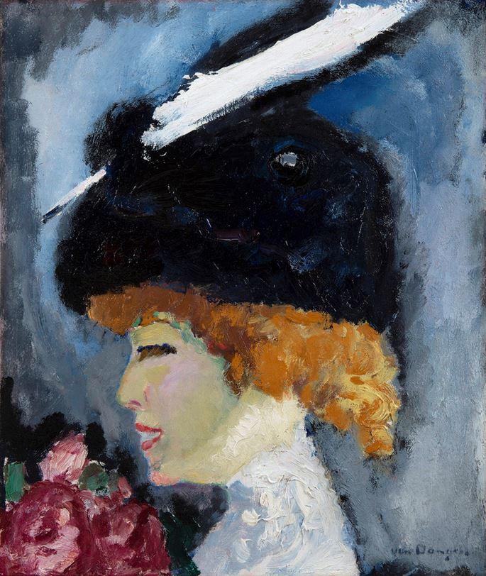 Kees Van Dongen - Portrait de femme à la plume blanche | MasterArt