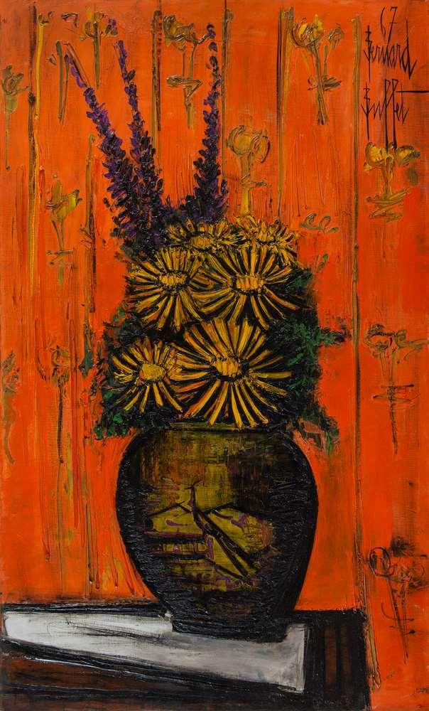 Bouquet au vase chinois, fond orange