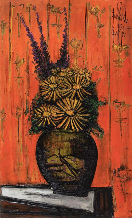 Bernard Buffet - Bouquet au vase chinois, fond orange | MasterArt