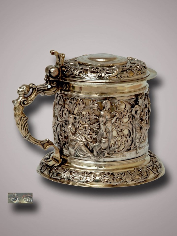 A Fine German Silver Parcel Gilt Tankard with Biblical Scene