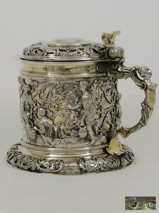 August Hosse - A Fine German Silver Parcel Gilt Tankard with Biblical Scene | MasterArt