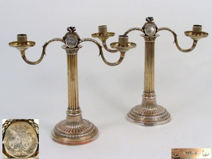 A Fine Pair of French Silver Gilt Two Light Candelabra