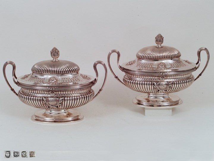 A Fine Pair of George III Silver Tureens Made by or in the Art of Sir William Chambers
