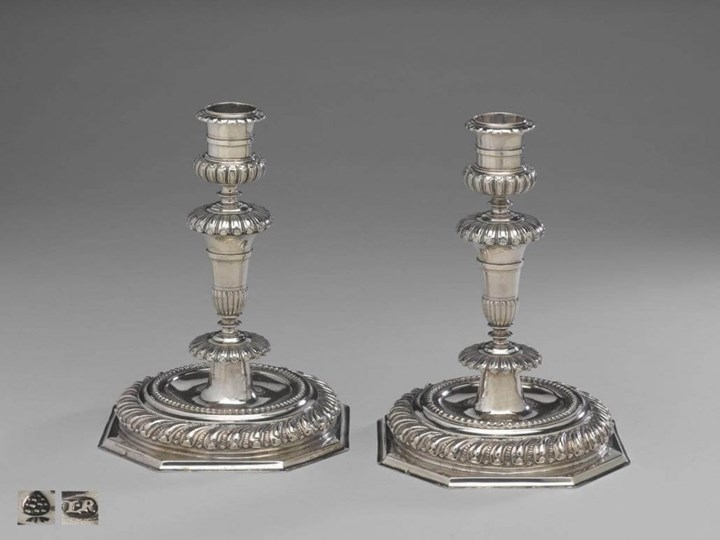 A Fine Pair of German Silver Candlesticks