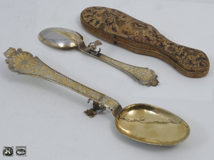 A German Parcel Gilt Silver Spoon with Leather Case