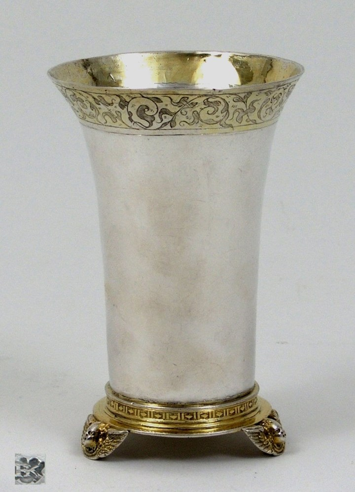 A German Silver Parcel Gilt Beaker with Flared Lip-Stauf
