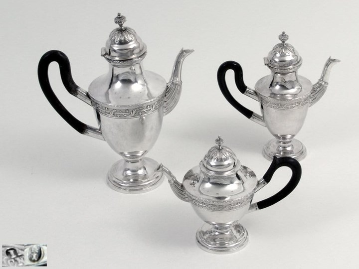 A Neoclassical Three Piece Silver Coffee and Tea Set, Property of Thurn and Taxis