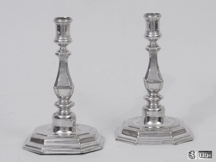 A Pair of German Silver Candlesticks