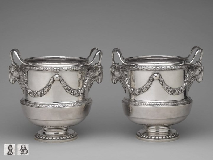 A Pair of Important German Silver Wine-Coolers from the Kharkov Service