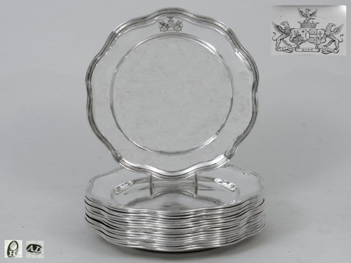 A Set of Eighteen German Silver Plates
