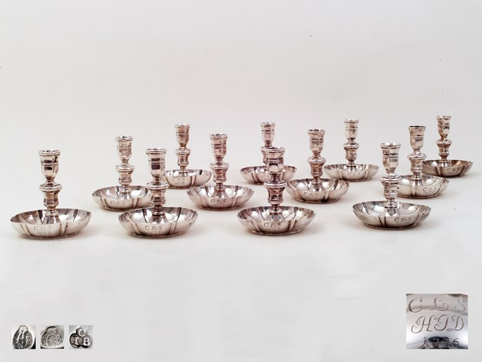 Carl Jos. Beer - A Set of Twelve Silver Charming Charles VI Candlesticks from Vienna | MasterArt