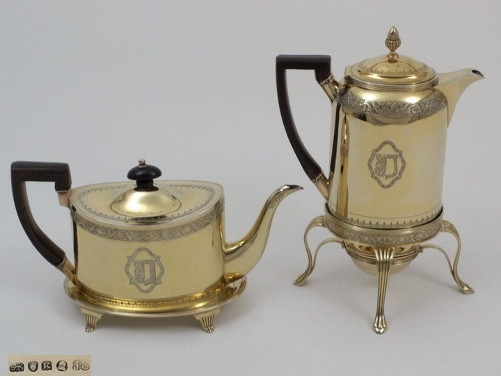 A Very Fine George III Silver Gilt Coffeepot on Burner and Teapot on Stand