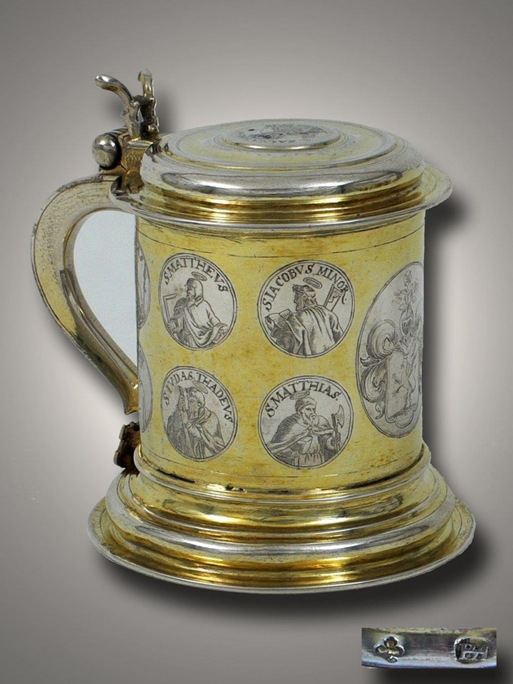 A Very Fine German Silver Parcel Gilt Tankard from Koenigsberg