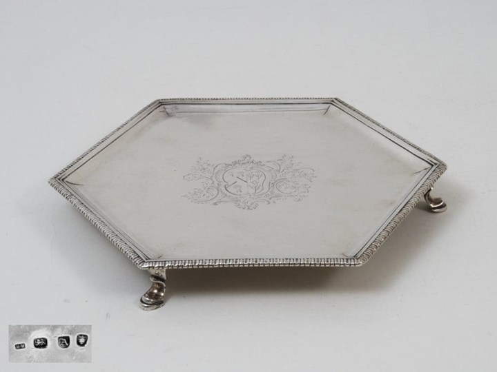 Antique Silver George II Hexagonal Salver on Three Hoof-Feet