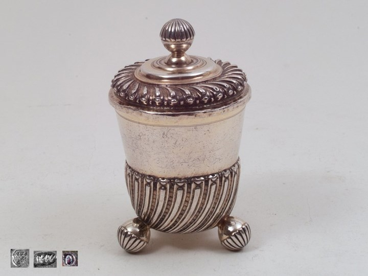 Covered Beaker on three Ball-Feet, Silver Partly-Gilt