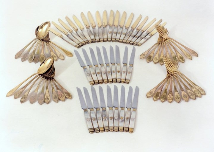 Fine 72 Piece Cutlery, France, Silver-Gilt