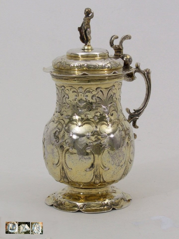 Fine Early German Silver-Gilt Jug with Lid