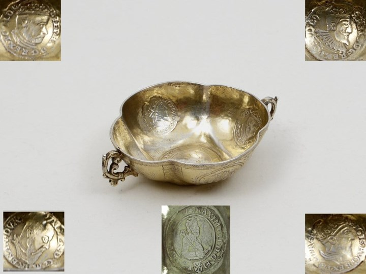 Fine German Silver-Gilt Bowl with Coins