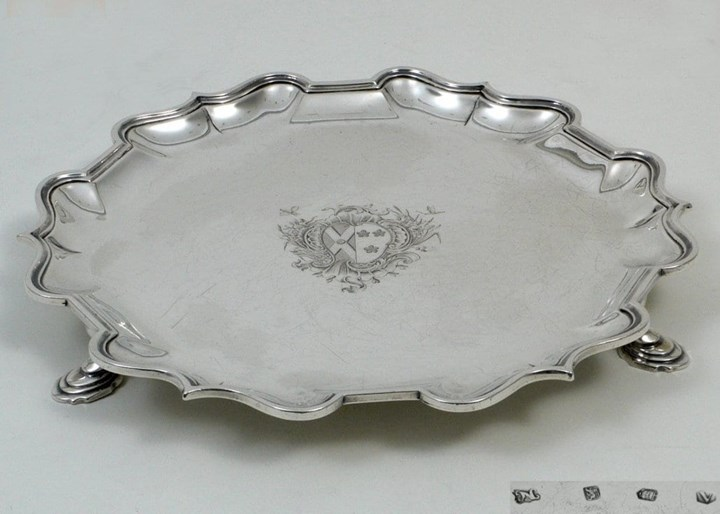 Fine Silver George II Rococo Salver on Three Hoof-Feet