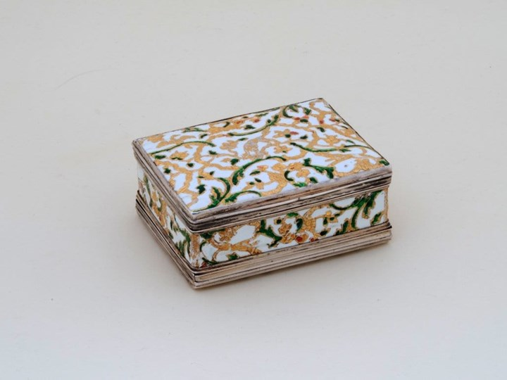 German Enamel Double Snuff Box with Silver Mountings and Hunting Motives