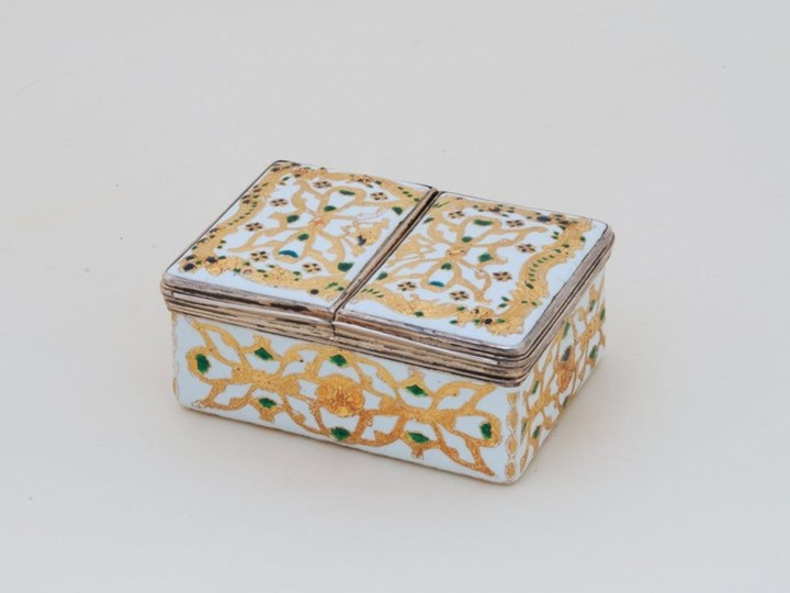 German Enamel Double Snuff Box with Silver-Gilt Mountings