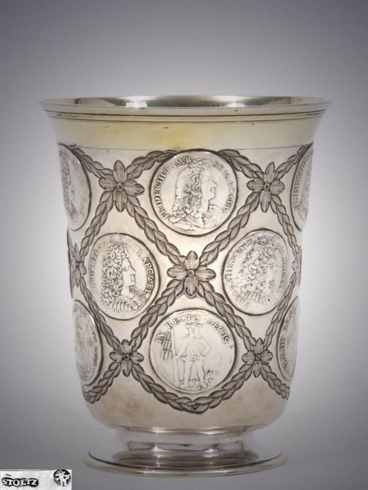 German Silver Parcel Gilt Coin Beaker
