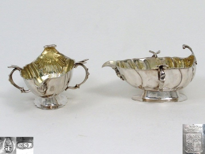 German Silver Sauce Boats, Gilt Inside