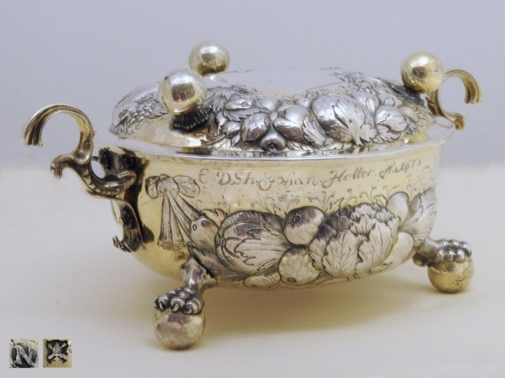 German, Parcel-Gilt, Silver Two-Handled Bowl and Cover