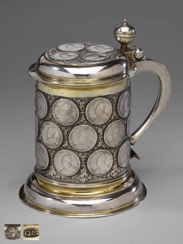 Large German Silver Parcel Gilt Coin Tankard