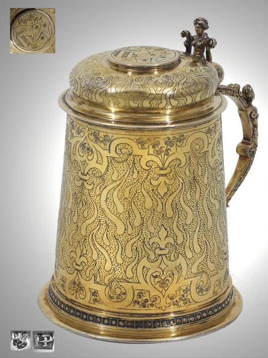 Late-Renaissance German Silver-Gilt Tankard