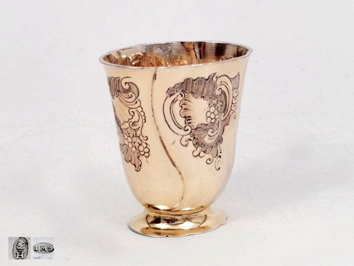 Lovely Antique Silver-Gilt Augsburg Rococo-Beaker with Grapevine Motif